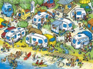 Zeichnung Wohnwagen am Wasser
